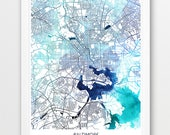 Baltimore Map Print, Baltimore City Poster Print, Baltimore Maryland Urban Street Map, Blue Watercolor Print, Home Wall Printable Art Decor