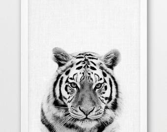 Tiger Print, Tiger Photo, Nursery Wall Art, Black & White Animals Photography, Tiger Forest Jungle Animals, Baby Kids Room Printable Decor