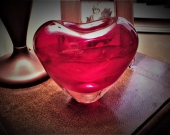 Red Heart Glass Vase