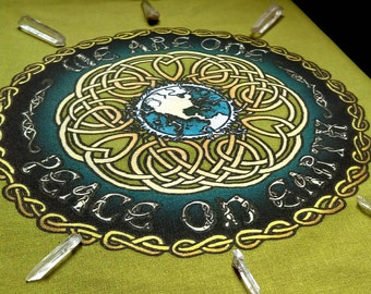 Peace On Earth- Celtic Knot Tapestry for Crystal Grid, Wall hanging or Altar Cloth ~ Mother Earth Conscious GREEN GAIA SPRING