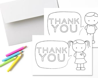 Thank You Cards for Kids: Fill in the blank and color // Set of 8 with envelopes