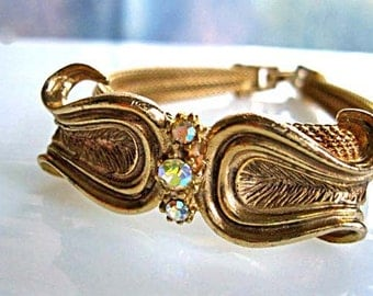 Gold Mesh Band Bracelet, Scalloped Curved Musical Lyre Raised Design, Abstract Curves, 60s Goldtone Costume