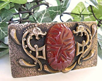 Dragon Oriental Brooch, Carved Bakelite Oval in Brass, Mythology Sea Serpent Creatures, Textured Rectangle Sash Brooch
