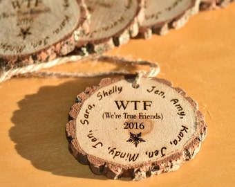 Custom Holiday Ornaments, Wood Rounds Ornaments, Laser Engraved