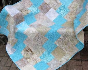 Quilt - Lap Quilt - Quilted Lap Throw - Sanctuary Batik Quilt - Batik Lap Quilt - Beige and Aqua Batik Lap Quilt