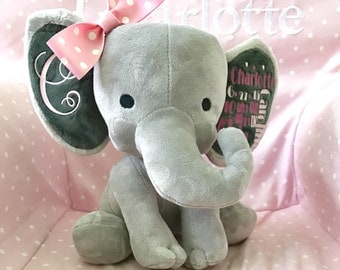 Birth announcement stuffed animal, memory bear, elephant, newborn present, newborn gift, baby shower, baby gift, baby present, stuffed eleph
