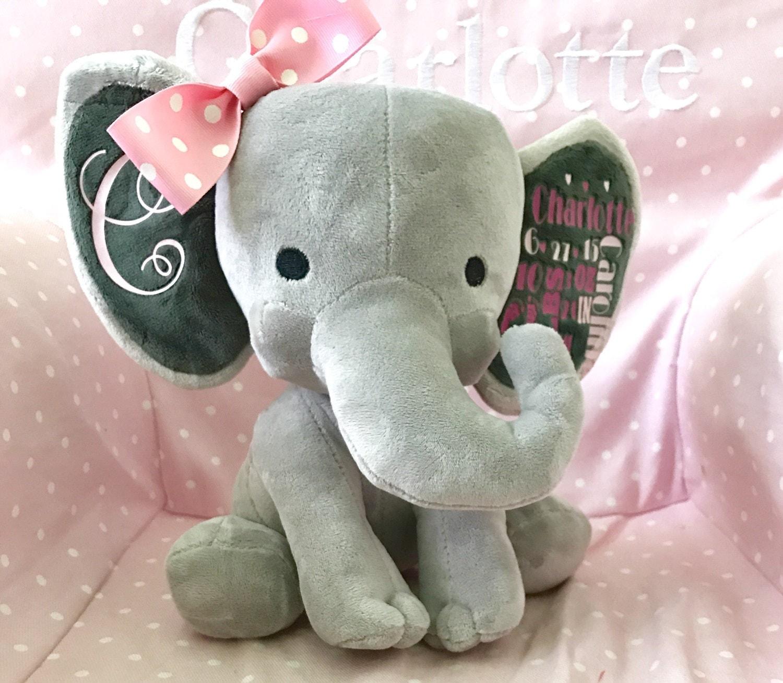 Birth Announcement Stuffed Animal Memory Bear Elephant