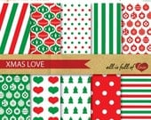 BLACK FRIDAY SALE Xmas Digital Paper Pack Christmas Scrapbooking Digital wrapping paper with Instant Download stripes background paper