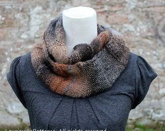 KNITTING PATTERN SCARF - Dark Cloud infinity scarf - Listing94