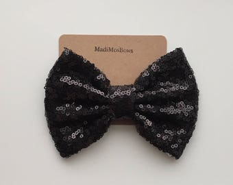 Sequin Bows 5 inches black