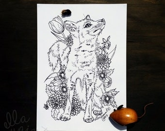 Fox Bouquet - Adult Coloring / Colouring Page by ellaquaint