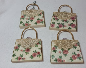 Victorian Style Purse Ornaments, set of 4