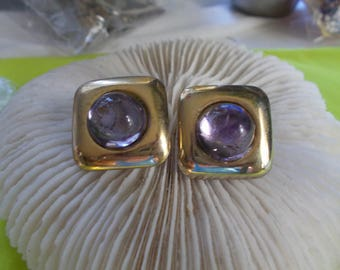 Vtg Clip On Earrings-Goldtoned Squares Purple Centers-C2507