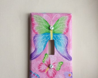 Pink Butterfly Switch Plate Cover, Butterfly Light Switch Cover, Butterfly Decor, Pink Sparkle Butterfly Switch Plate, Butterfly Nursery