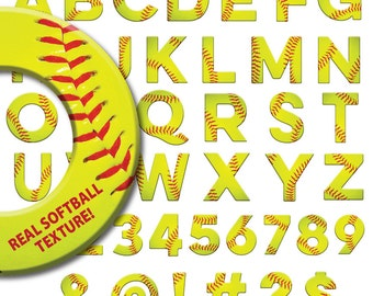 SOFTBALL ALPHABET, softball, baseball, font, letters, numbers, symbols, clipart, clip art, abc's, alphabet, cutting file, digital download