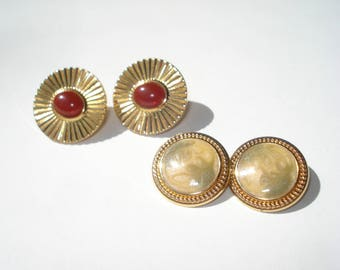 Vintage Fashion Earrings - Two pairs of Classic Gold Clip On Retro Costume Jewelry 1980s