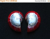 """SALE 50% OFF Red Nautilus Shell Cabohon """"9"""" shape pair 19-20 x 25 x 7mm"""