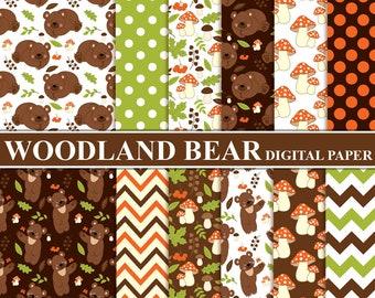 70% OFF SALE Woodland Bear Digital Paper - Digital Pattern, Bear, Chevron, Forest, Mushroom, Papers