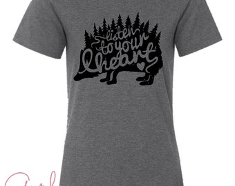 Hedgehog Adventure Hipster Gray Graphic Tee Listen To Your Heart
