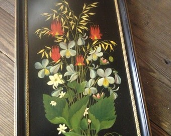 1920s Floral Oil Painting on Slate Signed Framed Wildflowers Bouquet Columbine Black Frame