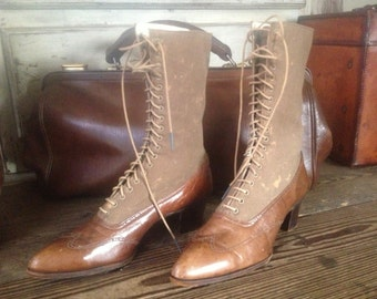 Antique Leather Ankle Boots, High Laced in Cigar Brown Canvas Victorian Edwardian