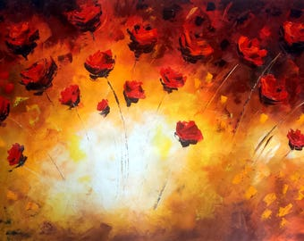 Red Poppies Oil Painting - Flowers Canvas Poppy - 50% OFF - Large size 50 x 28 - XXL Original Painting - Abstract Modern Art