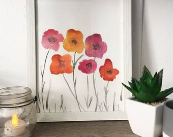 Watercolour painting - Autumn Poppies - watercolor art Mother's Day gift original artwork