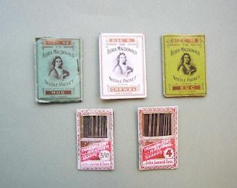 5 Vintage Sewing Needle Packets - 3 Flora MacDonald 2 John James