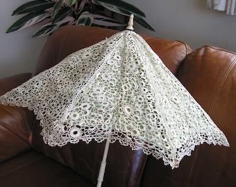 Antique Vintage  Parasol Cover Irish Crochet Lace c 1860.