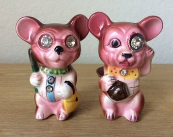 Vintage Lefton Diamond Eyed Mice Salt & Pepper Shakers, Anthropomorphic Mice Shakers