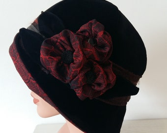 Cloche Hat Flapper Hat 20s 1920s Downton Abbey Black Velvet, BurgundyTafetta, Brown Lace, 23-23.5 inch