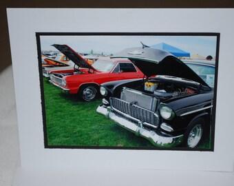 photo card, classic cars, car show photograph