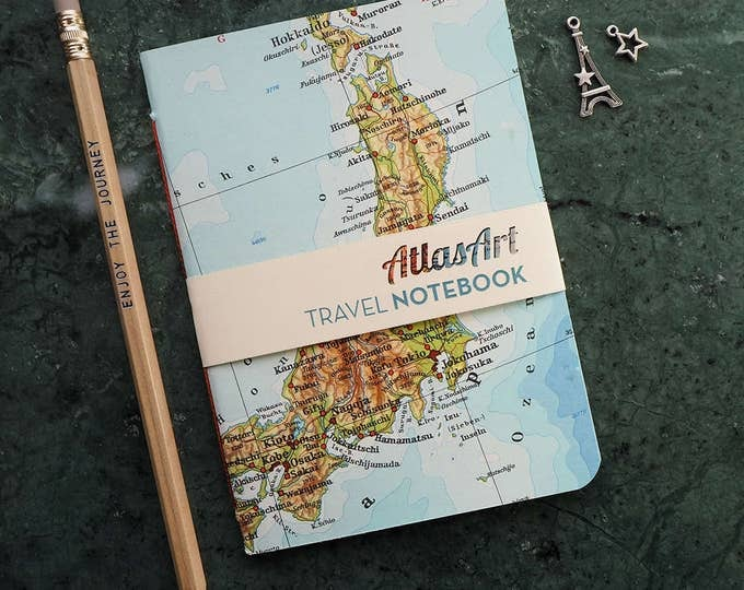 NOTEBOOK SMALL, Japan, Tokyo, Kobe, Osaka, Kioto, 4x5,8inch, 32 p., plain/ruled, travel journal, diary, atlas, map, vintage, upcycling