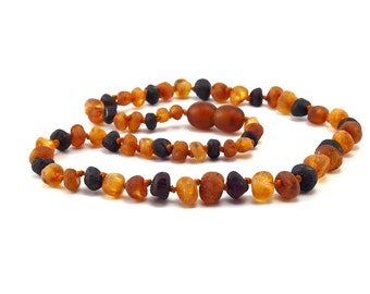Amber Baltic Necklace Toddler Child Teething Baby Rounded Unpolished Cherry Honey Cognac Beads