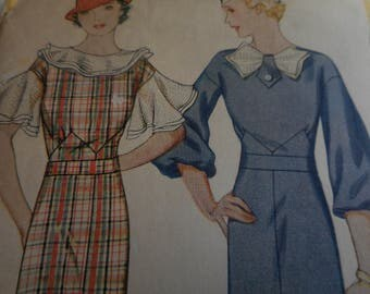 Vintage 1930's McCall 7397 Dress Sewing Pattern, Size 16 Bust 34