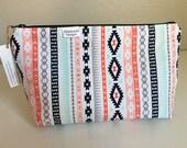 Makeup Bag, Tribal -- Zipper Cosmetic Bag