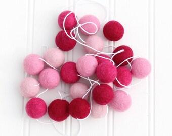 Felt Ball Garland PINK, Pom Pom Garland, Nursery Decor, Valentines Day Party Decor, Nursery Decor, Felt Ball Bunting, Girls Room Garland