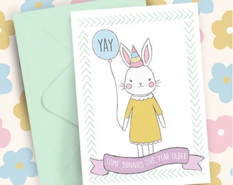 Some Bunnies One Year Older Woodland Whimsy Happy Birthday A5 greeting card