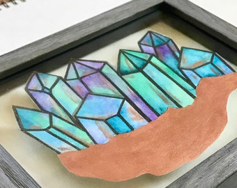 Floating Watercolor Painting, Aura Crystals in Rose Gold, Original Watercolor, Metallic Watercolor, Mineral Art, Intrinsic Journeys