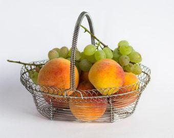 Vintage Bulgarian Fruit Basket, 80s Kitchen Collectibles
