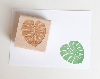 Monstera Stamp - plant rubber stamp - plant lady - monstera deliciosa - gardening stamp - nature - philodendron - K0071