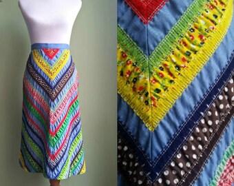 1960s Patchwork A-Line Skirt - Rag Skirt - XS