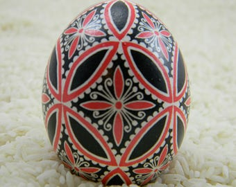 Intertwinning Circles in Black and Red Pysanky Egg