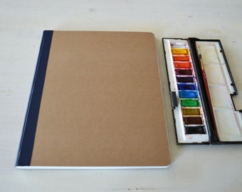 """Blank art journal, large watercolor Journal  9"""" x 11.8"""" (23x30 cm), with 40 pages of 300 gsm Fabriano cold pressed watercolor paper"""