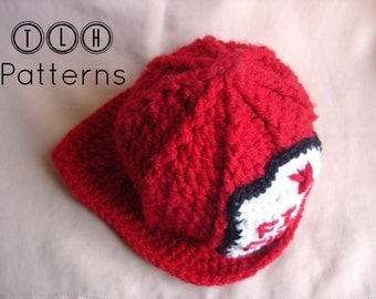 Crochet fireman hat pattern, Crochet hat pattern, costume hat, 3 sizes - baby, child and adult, Pattern No. 7