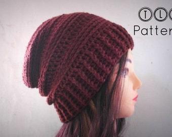 Crochet hat pattern, crochet slouchy beanie pattern, mens hat pattern, unisex hat, Chocolate Slouchy hat, adult size, Pattern No. 36