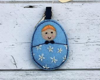 Matryoshka - Babushka Bag dangle, in handcut blue Eco Felt