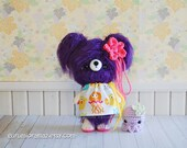 purple fuzzy bear, amigurumi kawaii crochet bear, bitty octopus