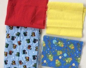 Fabric destash, flannel fabric bundle, juvenile prints, coordinating fabric, ideal for baby accessories, miscellaneous flannel pieces