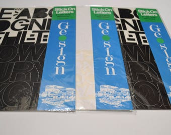 vintage vinyl sticker letters and numbers, Helvetica, Geosign, set of three
